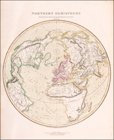 73-Northern Hemisphere, Polar Maps, Alaska and North America Map By John Thomson