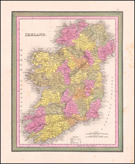 Ireland Map By Samuel Augustus Mitchell