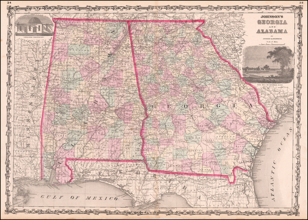 68-South, Alabama, Southeast and Georgia Map By Benjamin P Ward  &  Alvin Jewett Johnson