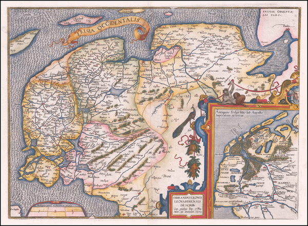 69-Netherlands Map By Abraham Ortelius