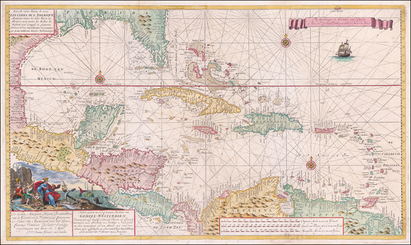 78-Florida, Caribbean, Cuba, Bahamas, Central America and Venezuela Map By Gerard Van Keulen