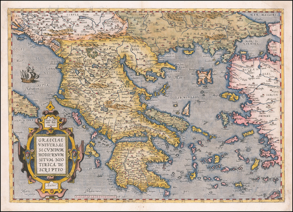 45-Greece Map By Abraham Ortelius