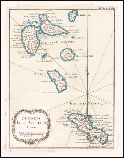70-Caribbean and Martinique Map By Jacques Nicolas Bellin