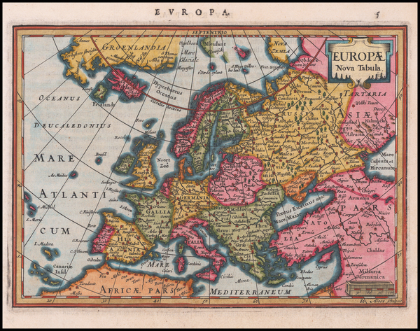 98-Europe Map By Jodocus Hondius / Gerard Mercator