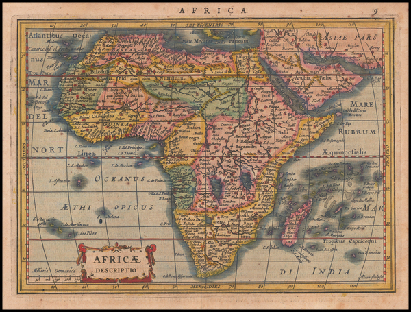 81-Africa Map By Jodocus Hondius / Gerard Mercator