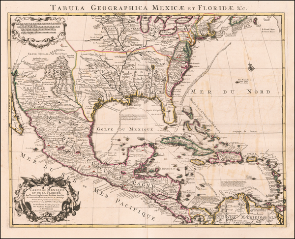 Southeast, Texas, Midwest, Southwest, Rocky Mountains and Mexico Map By Johannes Covens  &  Cornelis Mortier