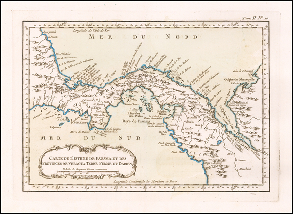 Central America Map By Jacques Nicolas Bellin
