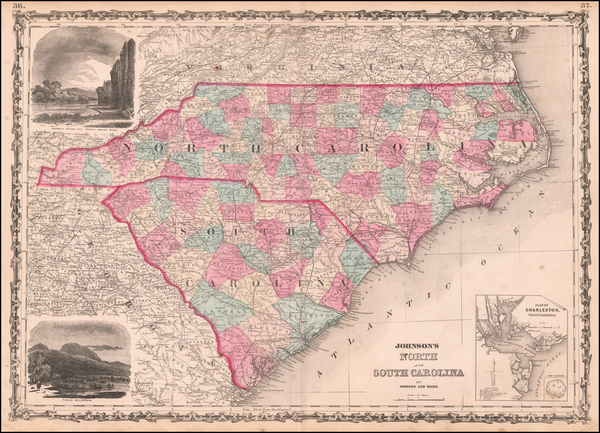 53-North Carolina and South Carolina Map By Benjamin P Ward  &  Alvin Jewett Johnson