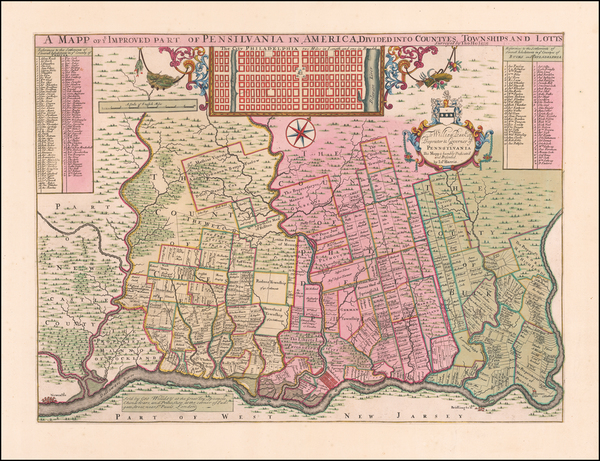 16-Mid-Atlantic, Pennsylvania and Philadelphia Map By George Willdey / Thomas Holme