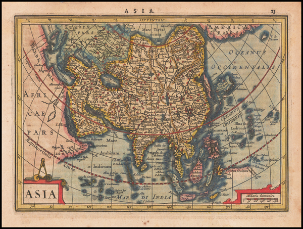 54-Asia Map By  Gerard Mercator