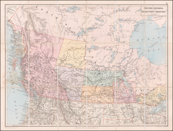 14-North Dakota and Canada Map By Edward Stanford