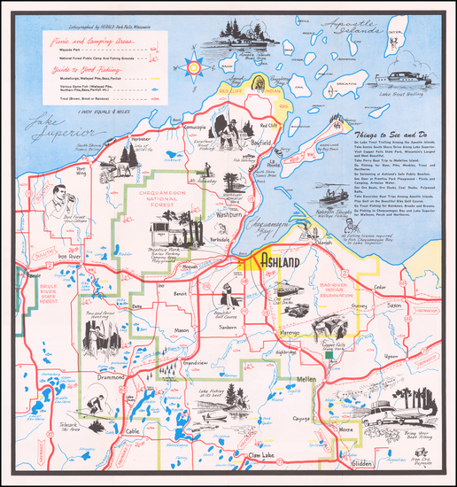 12-Wisconsin and Pictorial Maps Map By Ashland Chamber of Commerce
