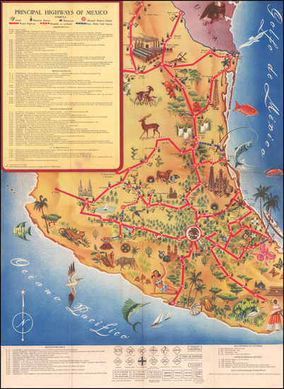 Mexico and Pictorial Maps Map By General Motors