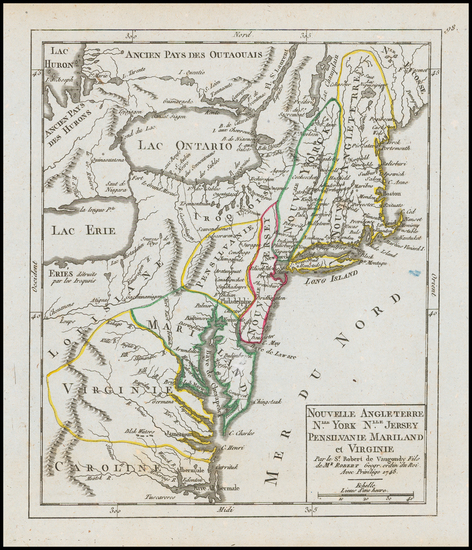 63-New England, New York State and Mid-Atlantic Map By Gilles Robert de Vaugondy