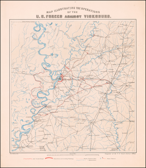 90-Mississippi and Civil War Map By Charles G. Krebs