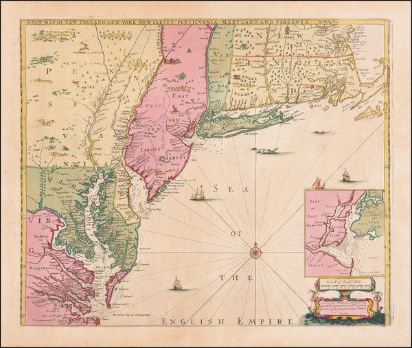 98-New England, New York City, New York State, Mid-Atlantic and Southeast Map By Robert Morden / P