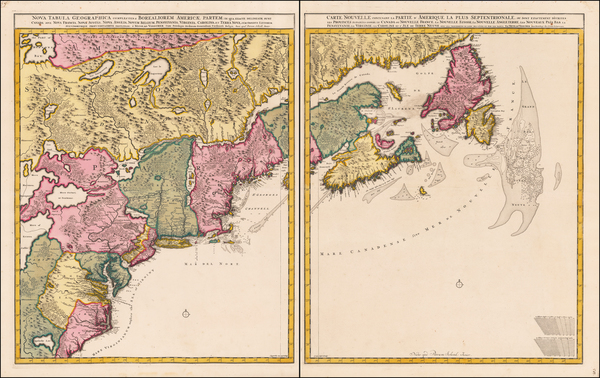 77-New England, New York State, Mid-Atlantic, Southeast and Canada Map By Peter Schenk / Nicolaes