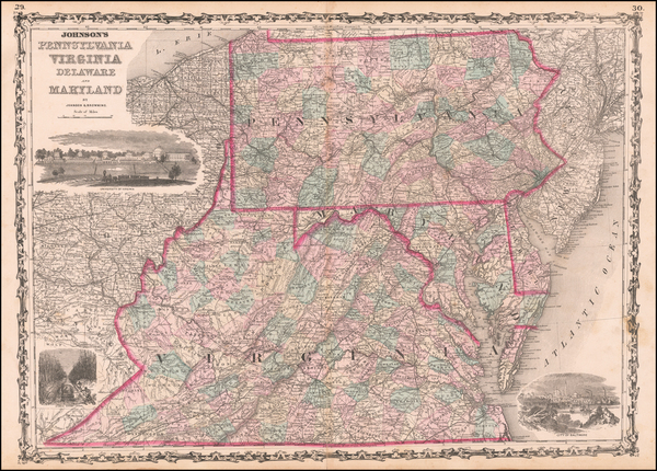 89-Pennsylvania, Maryland, Delaware, West Virginia and Virginia Map By Alvin Jewett Johnson  &