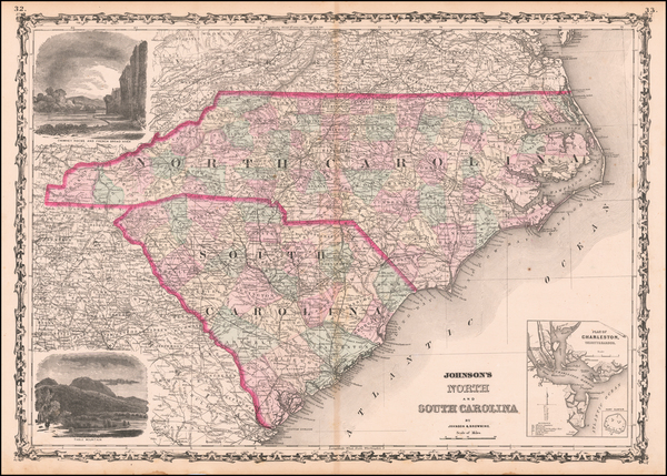 36-North Carolina and South Carolina Map By Alvin Jewett Johnson  &  Browning