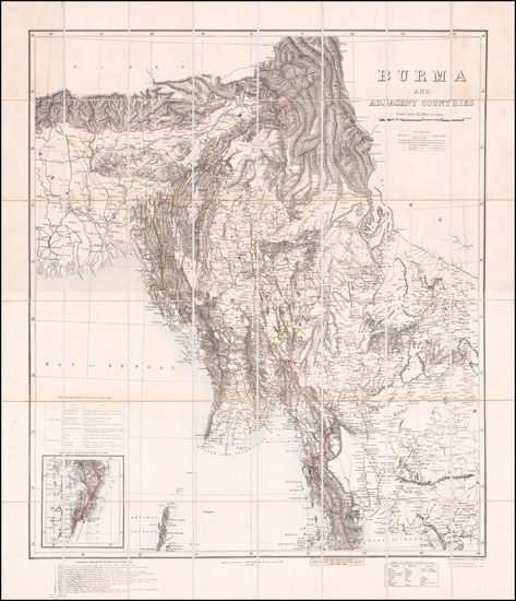 65-India and Thailand Map By Henry Ravenshaw Thuillier