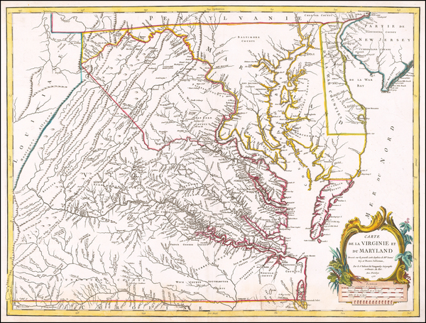 32-Mid-Atlantic, Maryland and Virginia Map By Gilles Robert de Vaugondy
