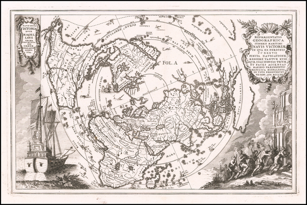 94-World and Northern Hemisphere Map By Heinrich Scherer