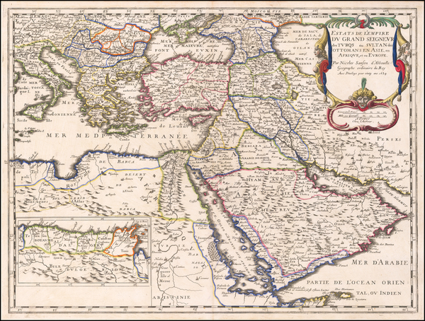 63-Turkey, Mediterranean, Middle East and Turkey & Asia Minor Map By Nicolas Sanson
