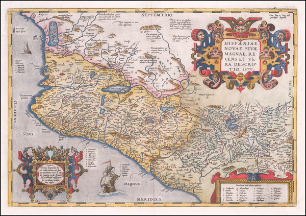 21-Mexico Map By Abraham Ortelius