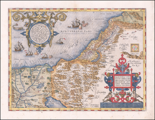 27-Holy Land Map By Abraham Ortelius