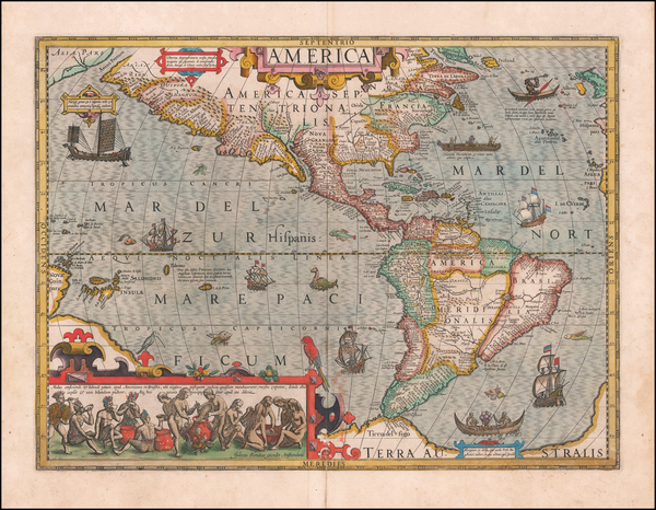 20-Western Hemisphere and America Map By Jodocus Hondius