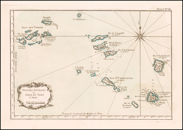 6-Virgin Islands and Other Islands Map By Jacques Nicolas Bellin