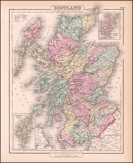 1-Scotland Map By Joseph Hutchins Colton