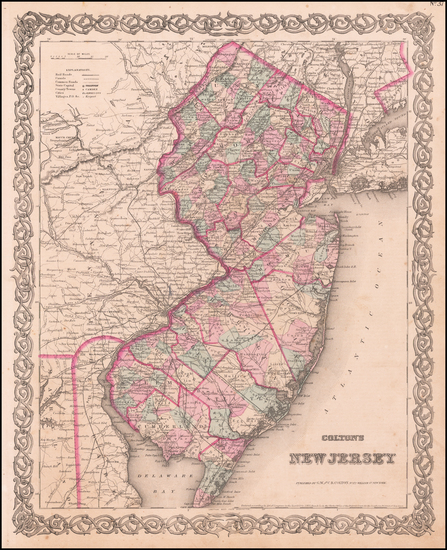 42-New Jersey Map By Joseph Hutchins Colton