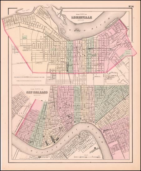 62-Kentucky and New Orleans Map By Joseph Hutchins Colton
