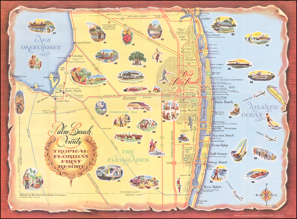 Florida and Pictorial Maps Map By West Palm Beach Chamber of Commerce
