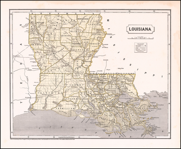 29-Louisiana Map By Sidney Morse  &  Samuel Breese