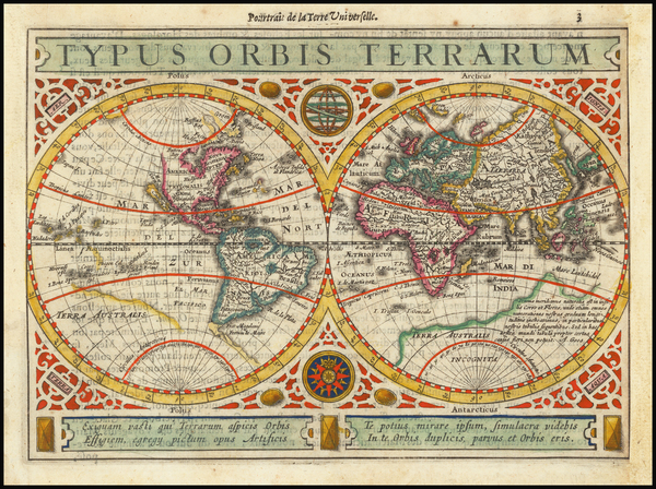 46-World Map By Henricus Hondius / Jan Jansson