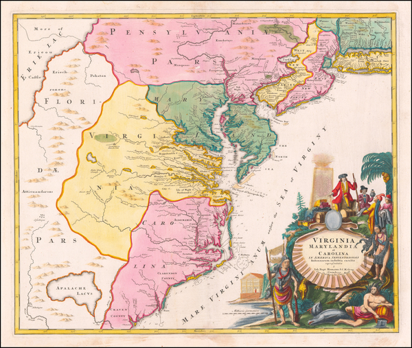Mid-Atlantic, Maryland, Delaware, Southeast and Virginia Map By Johann Baptist Homann