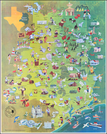 7-Texas and Pictorial Maps Map By Ron Rice