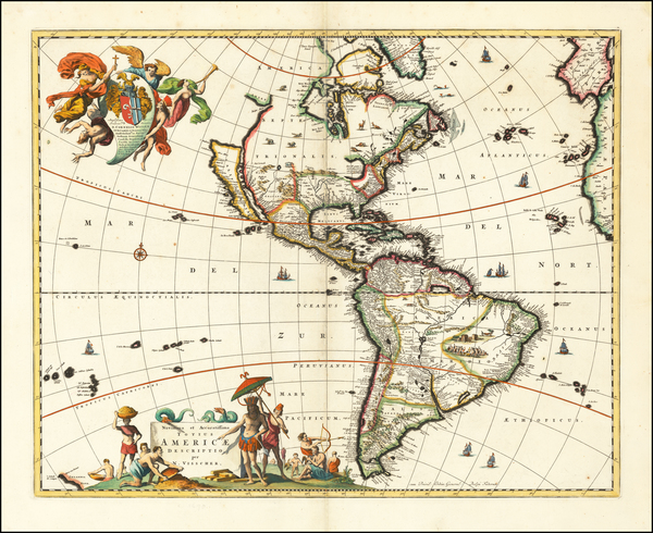 32-California as an Island and America Map By Nicolaes Visscher I