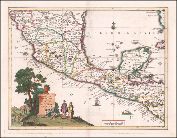 54-Mexico and Central America Map By Giambattista Albrizzi