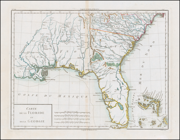 47-Florida, South and Southeast Map By Pierre Antoine Tardieu