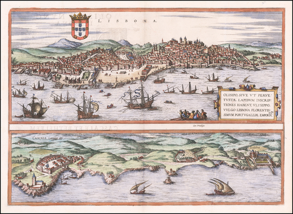 Portugal Map By Georg Braun  &  Frans Hogenberg