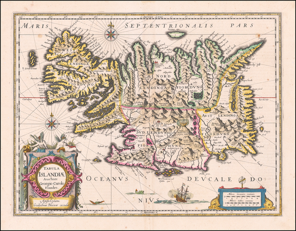 47-Iceland Map By Willem Janszoon Blaeu