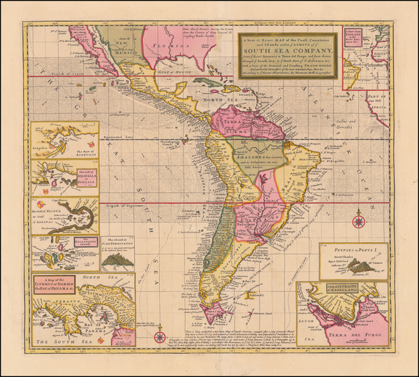 0-Central America, South America, California and America Map By Herman Moll