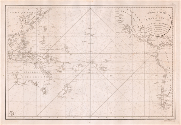 67-Pacific Ocean, Pacific and Oceania Map By Depot de la Marine