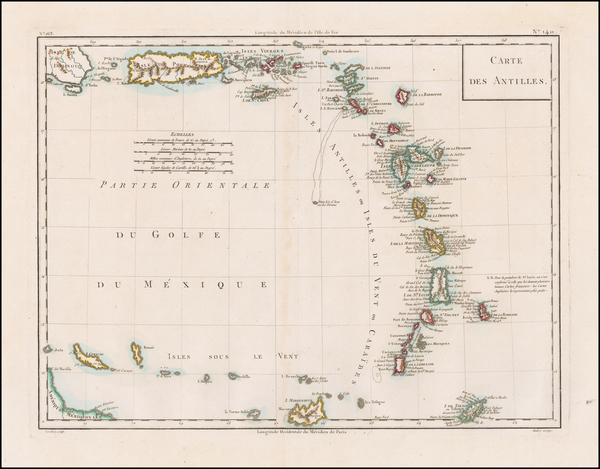 87-Caribbean and Other Islands Map By Pierre Antoine Tardieu