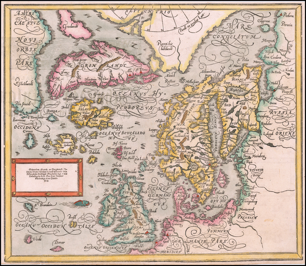 68-Polar Maps, Atlantic Ocean, Scandinavia and Iceland Map By Sebastian Munster