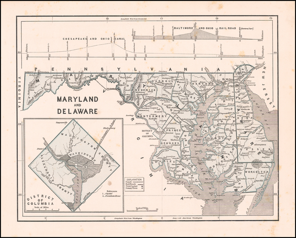 26-Washington, D.C., Maryland and Delaware Map By Sidney Morse  &  Samuel Breese