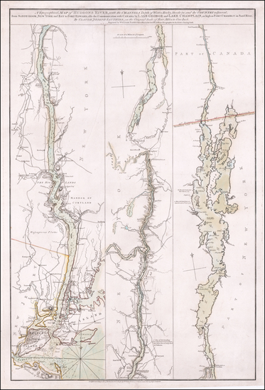 95-Vermont, New York State and Canada Map By Claude Joseph Sauthier
